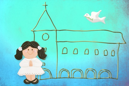 first communion card cute dark-haired doll, church and dove on a blue background photo