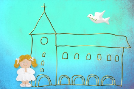 first communion card, cute blonde doll, church and dove on a blue background color photo