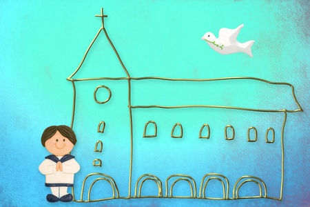 first communion card, cute brown hair boy  sailor suit, church and dove on a blue background photo