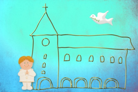 first communion card, cute blonde hair boy  sailor suit, church and dove on a blue background photo