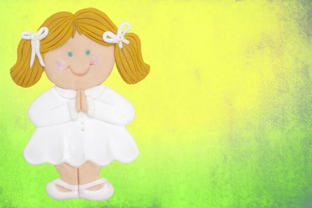greeting invitation card, first communion, blonde girl,colorful background photo