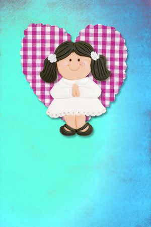 First Holy Communion Invitation Card, cute brunette girl on blue background photo