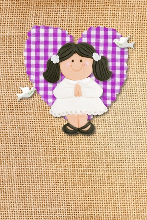 First Holy Communion Invitation Card, rustic style, funny brunette girl in burlap background photo