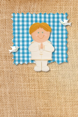 First Holy Communion Invitation Card, rustic style, funny blonde boy in burlap background photo