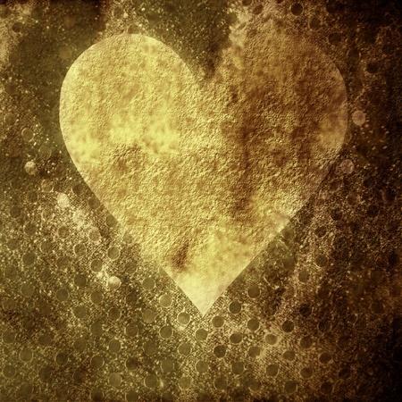Valentines grunge background card, a gold heart