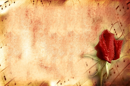 scores: vintage card of lovers, old sheet music and flower