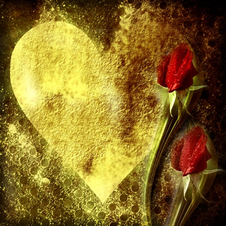 golden brown grunge background with heart tranparent red rosebuds photo