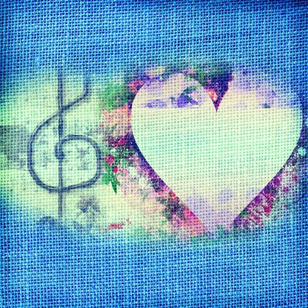 background  music card, heart and treble clef photo