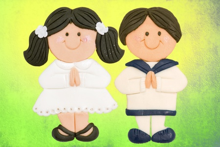First Holy Communion Invitation Card, boy and girl photo