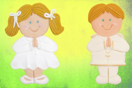 First Holy Communion Invitation Card, girl and boy Stock Photo - 12379816