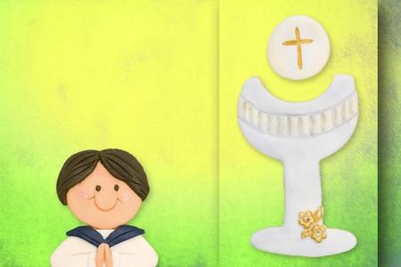 first communion greeting card boy and chalice