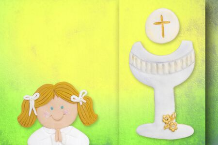 first communion greeting card,girl and chalice photo
