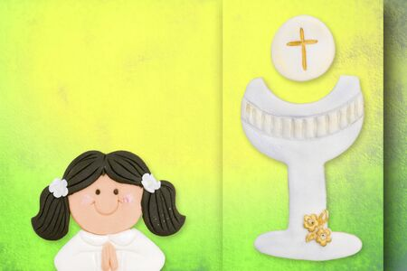 first communion greeting card, girl and chalice Stock Photo