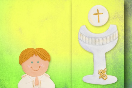 first communion greeting card, blonde boy photo