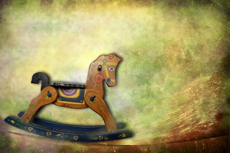 old horse: vintage card, old rocking horse