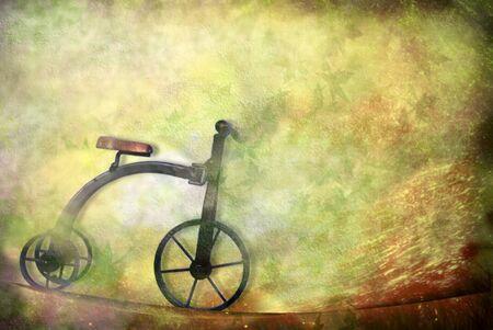 einrollen: card altes Spielzeug, Dreirad Fahrrad mit Kopie Raum
