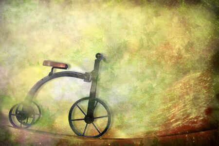 card old toy, tricycle bike with copy space Foto de archivo