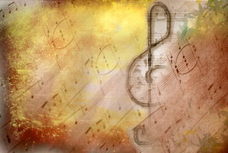 classical music: grunge  treble clef musical on background score