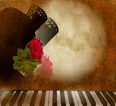 card background silhouette Andalusian woman flamenco singer and piano