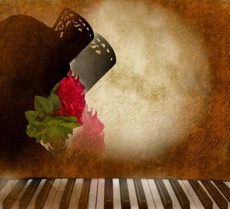 kaart, achtergrond, silhouet Andalusische vrouw flamenco zanger en piano