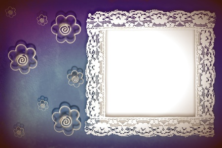 Grunge frame on the old paper and flowers  for invitation or photo photo