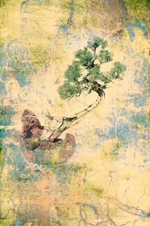 illustrious: bonsai tree on grungy textured old paper