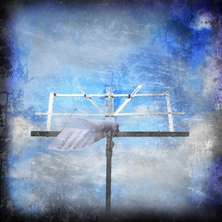 lectern: lectern and score, old sky background Stock Photo