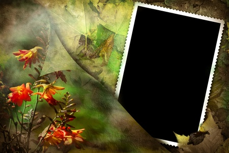 old empty picture frame on old floral background photo