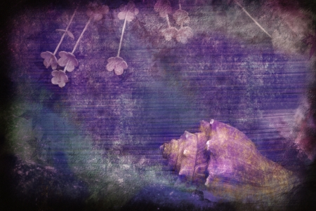 textured vintage grunge postcard with sea snail and flowers photo