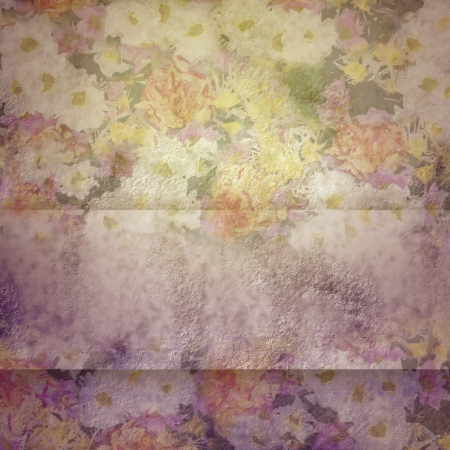 Vintage background with flowers, copy space photo