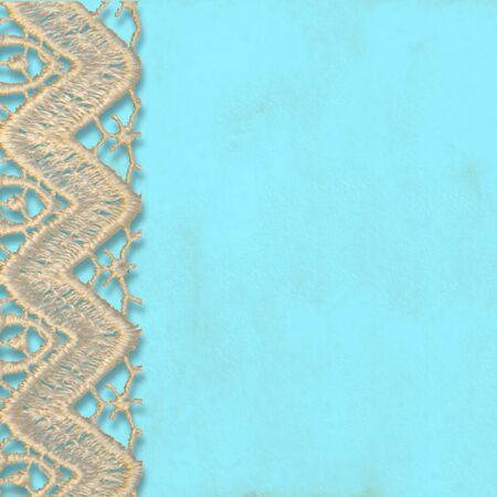 turquoise background with lace trim, copy space for text or photo photo