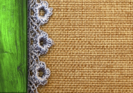 rustic background, burlap, wood and lace with copy space photo