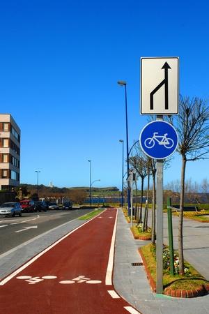 lane marker: bicycle lane marker on a city street