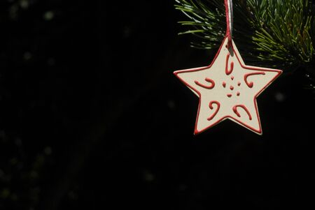 christmas, star hanging from the fir tree with copyspace photo