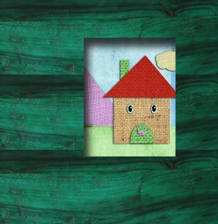 child background wooden little house scrapbooking, copy space photo