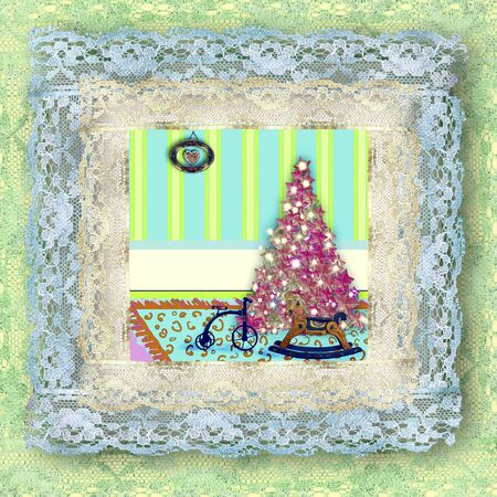 Greeting old lace picture of Christmas tree and vintage toys photo