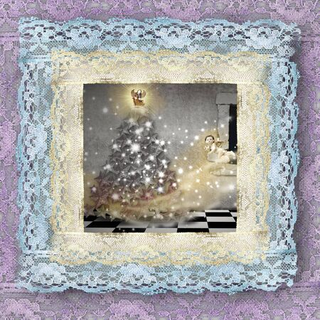noe: old lace picture, Christmas tree and angels Stock Photo
