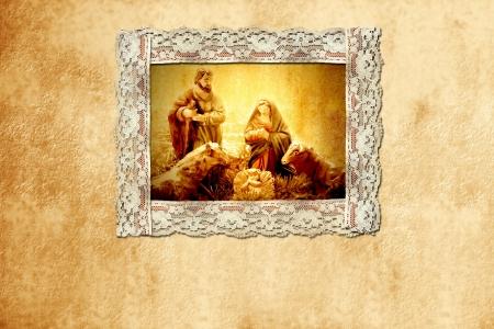 heilige familie: alte Weihnachtskarte, heilige Familie und schriftlich Raum