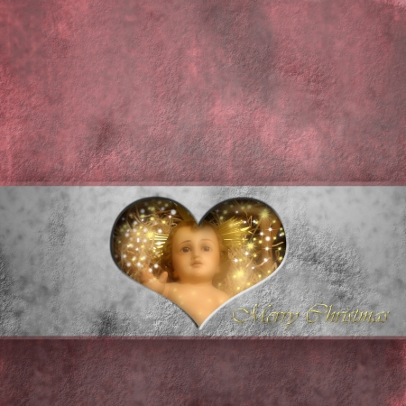 Christmas card baby Jesus in a heart, copy space photo