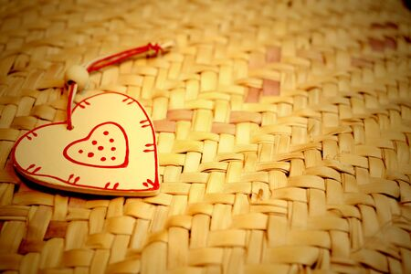 wooden heart on  hemp background and copy space Stock Photo - 17342748