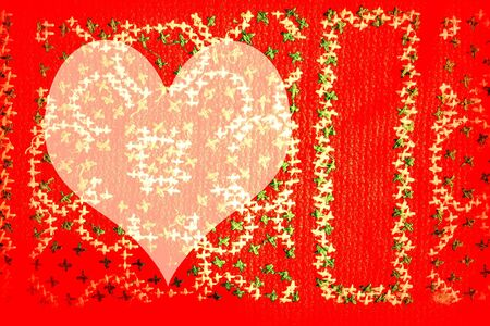 colorful background red heart with cross stitching photo