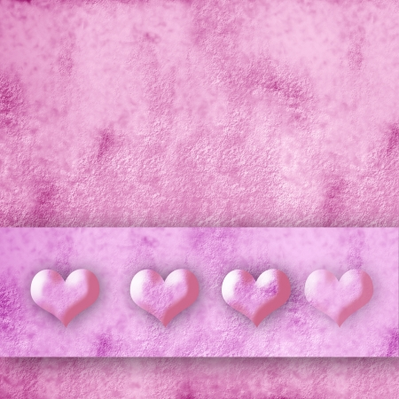 four small hearts on pink background photo