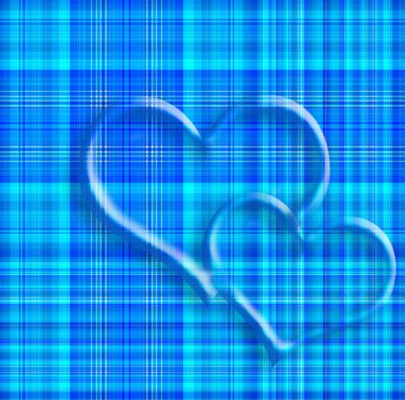 valentine card, two hearts on blue plaid photo