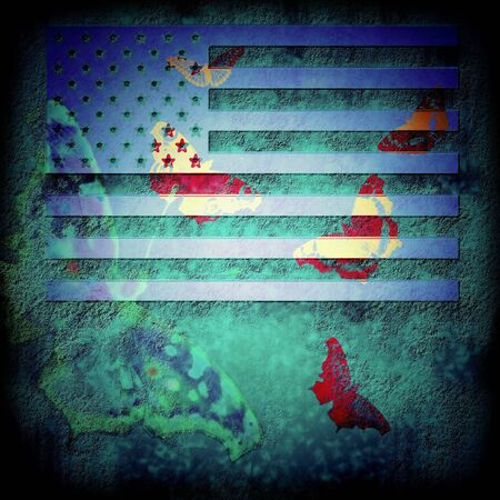 USA flag grunge abstract background in blue and butterflies Stock Photo - 17474409