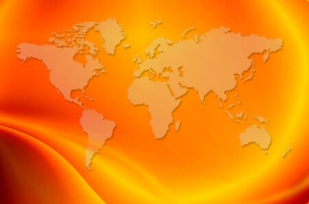 World map in bright orange background photo