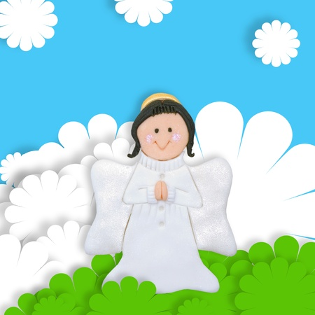 first day: first communion cute card, lovely angel