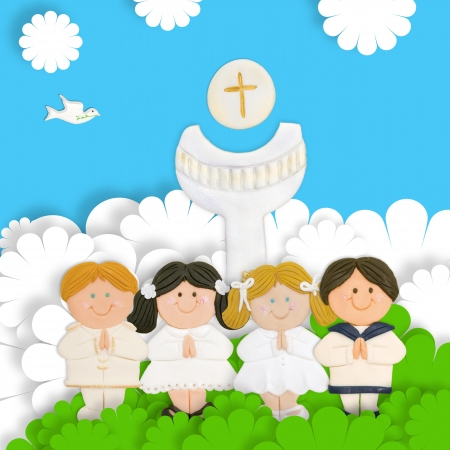 first day: first communion card, group of children, calyx and wafer