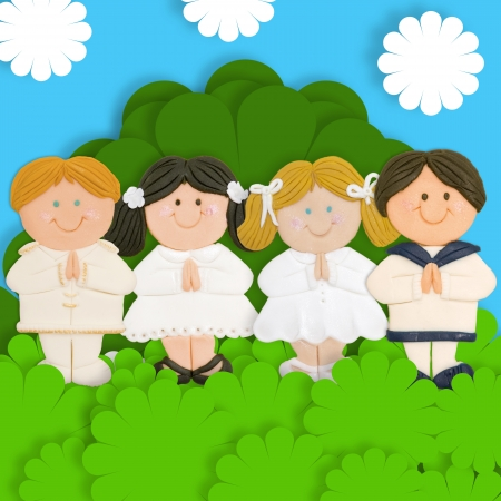 first day: Adorable card first communion, praying group of children