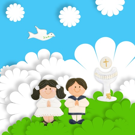 first day: first communion card funny, brown pair of children and calyx