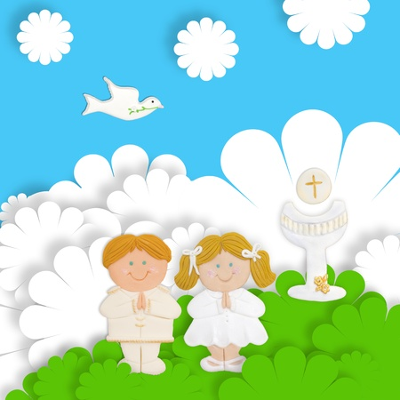 first day: first communion card funny groups of children Stock Photo